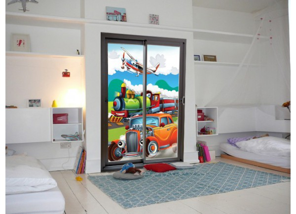 stickers adh sif trompe oeil mural enfant trompe l 39 oeil pour enfants. Black Bedroom Furniture Sets. Home Design Ideas