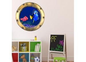 Stickers trompe l'oeil hublot or Dorie et Némo