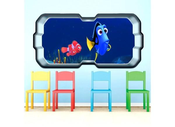 Stickers trompe l'oeil hublot 3D Dorie et Némo