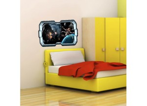 Stickers trompe l'oeil hublot 3D Star Wars
