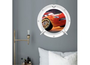 Stickers trompe l'oeil hublot blanc Cars Flash Mac Queen
