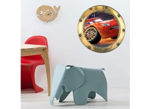 Stickers trompe l'oeil hublot Or Cars Flash Mac Queen
