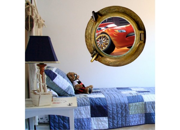 Stickers trompe l'oeil hublot bronze Cars Flash Mac Queen
