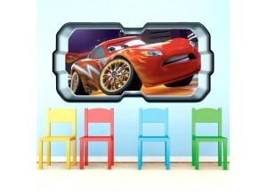 Stickers trompe l'oeil hublot 3D Cars Flash Mac Queen
