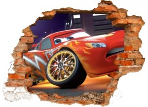 Sticker trompe l'oeil 3D mur déchiré Cars Flash Mac Queen