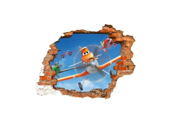 Sticker trompe l'oeil 3D mur déchiré Planes Dusty