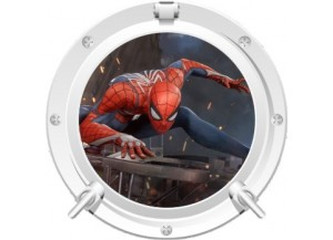 Stickers trompe l'oeil hublot blanc Spiderman