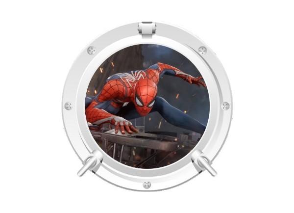 Stickers trompe l'oeil hublot blanc Spiderman