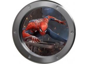 Stickers trompe l'oeil hublot argent Spiderman