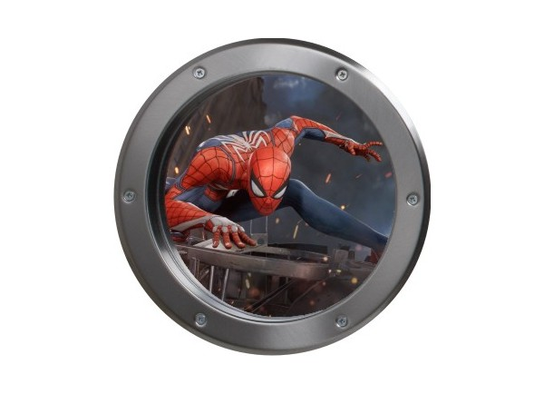 Stickers trompe l'oeil hublot argent Spiderman