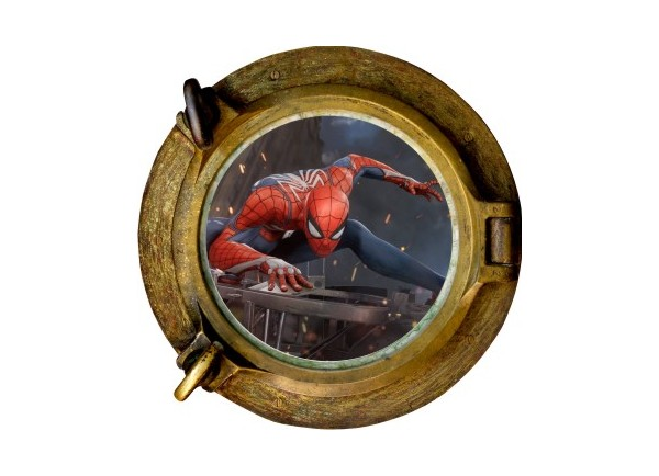 Stickers trompe l'oeil hublot bronze Spiderman