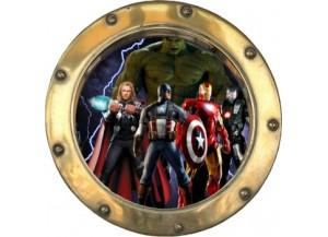 Stickers trompe l'oeil hublot doré Avengers
