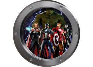 Stickers trompe l'oeil hublot argent Avengers