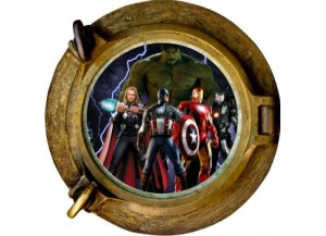 Stickers trompe l'oeil hublot bonze Avengers