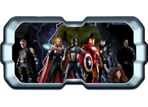 Stickers trompe l'oeil hublot 3D Avengers