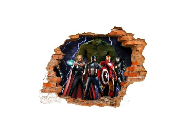 Sticker trompe l'oeil 3D mur déchiré Avengers