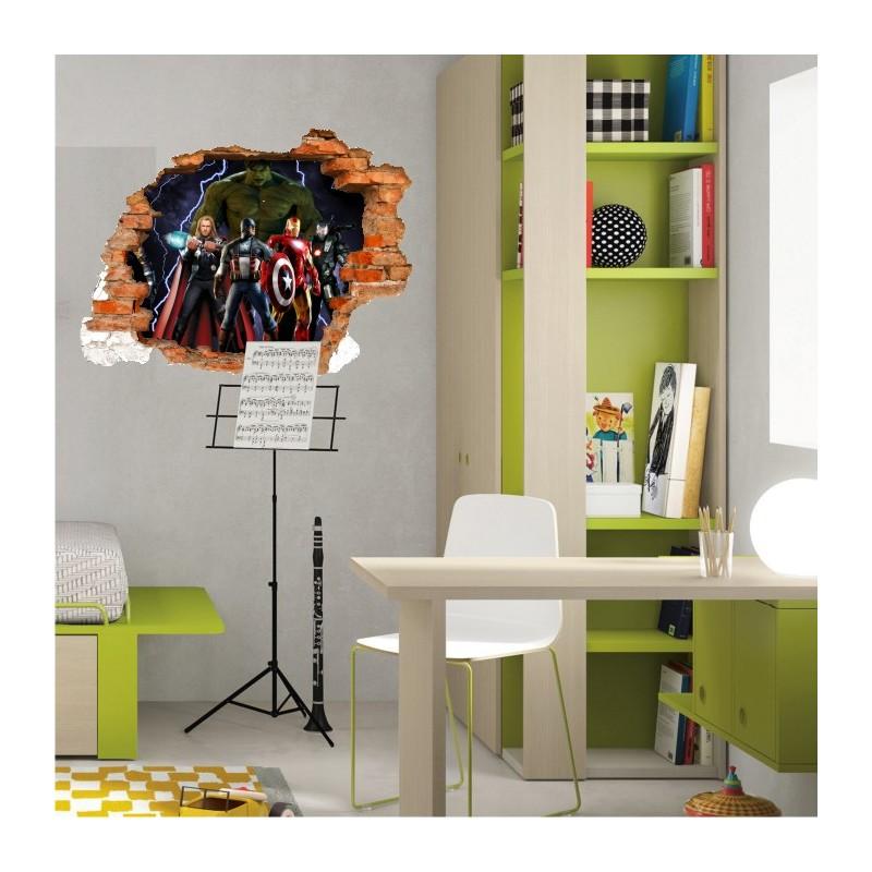 sticker trompe l 39 oeil 3d mur d chir avengers. Black Bedroom Furniture Sets. Home Design Ideas