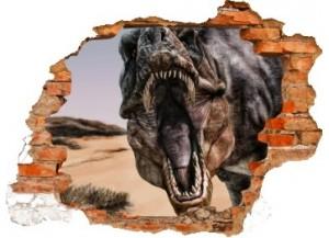 Sticker trompe l'oeil 3D mur déchiré dinosaure Tyrex