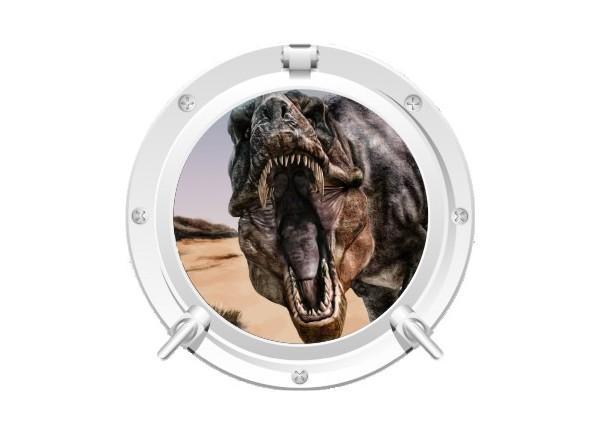 Stickers trompe l'oeil hublot blanc dinosaure Tyrex