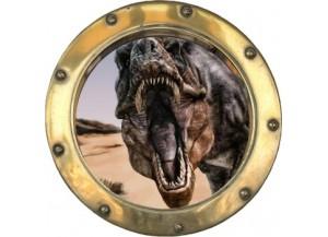 Stickers trompe l'oeil hublot doré dinosaure Tyrex