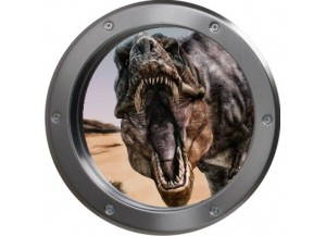 Stickers trompe l'oeil hublot argent dinosaure Tyrex