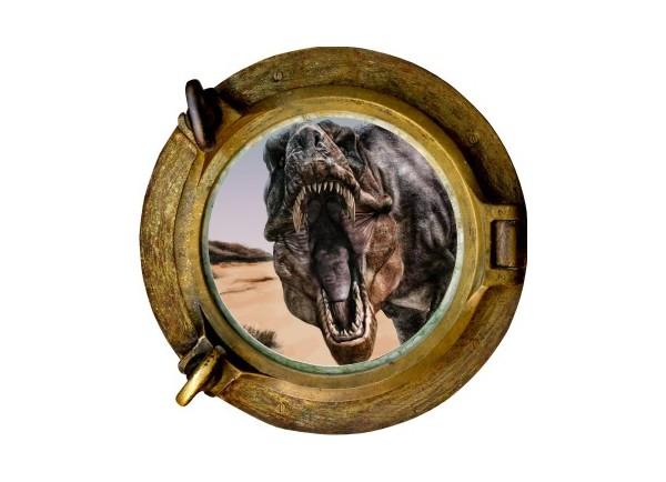 Stickers trompe l'oeil hublot bronze dinosaure Tyrex
