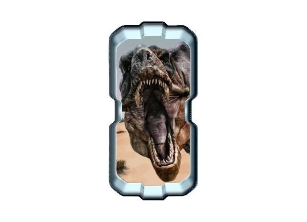 Stickers trompe l'oeil hublot 3D dinosaure Tyrex