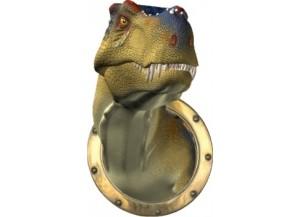 Stickers trompe l'oeil dinosaure Tyrex sortant du hublot