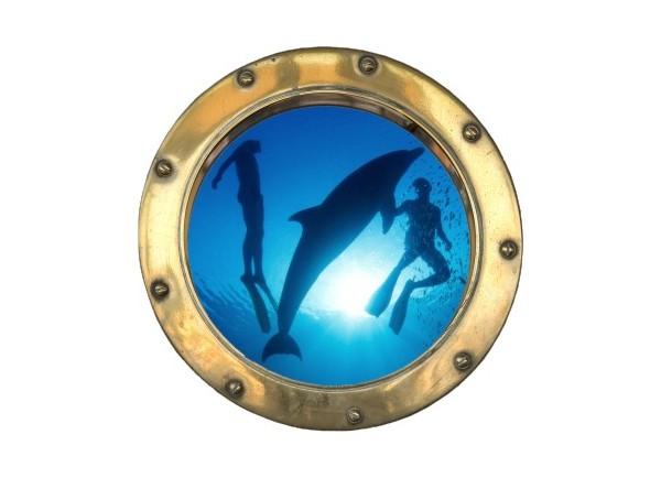 Stickers trompe l'oeil hublot doré Plongeurs et Dauphins
