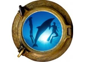 Stickers trompe l'oeil hublot bronze Plongeurs et Dauphins