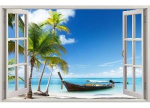Stickers trompe l'oeil fenêtre ouverte Plage cocotiers et barque