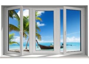 Stickers trompe l'oeil fenêtre plage cocotiers et barque