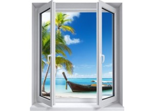Sticker trompe l'oeil fenêtre 2 vantaux plage cocotiers et barque