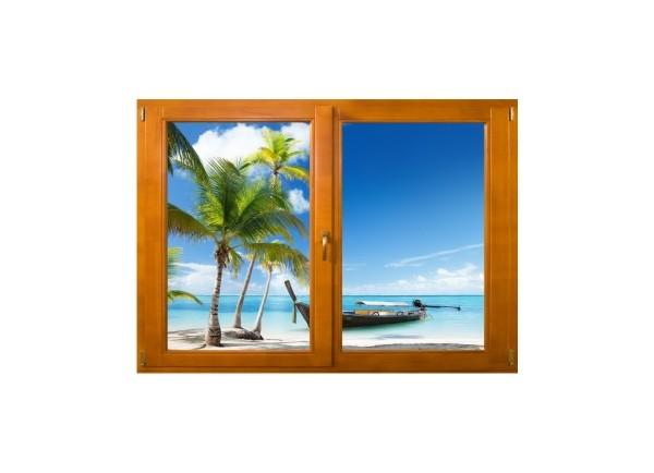Sticker trompe l'oeil fenêtre bois plage cocotiers et barque