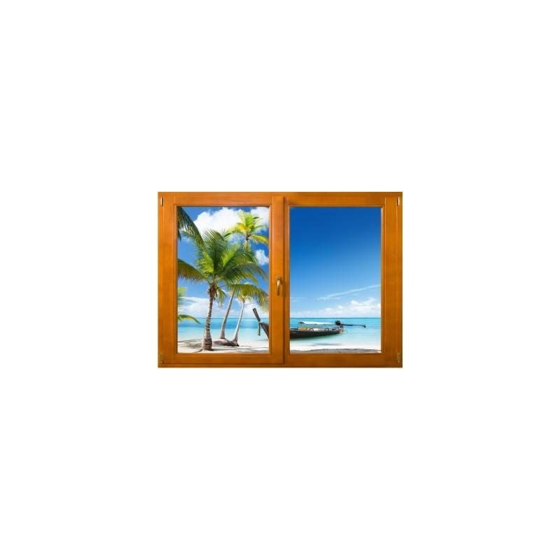 stickers trompe l 39 oeil fen tre bois plage cocotiers et barque. Black Bedroom Furniture Sets. Home Design Ideas