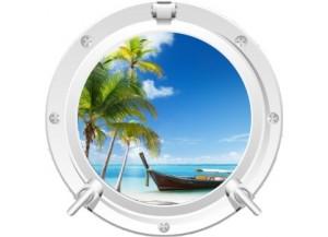 Stickers trompe l'oeil hublot blanc Plage cocotiers et barque