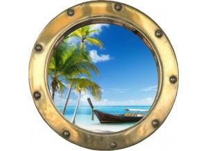 Stickers trompe l'oeil hublot doré Plage cocotiers et barque