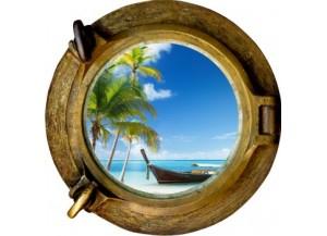 Stickers trompe l'oeil hublot bronze Plage cocotiers et barque