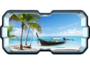 Stickers trompe l'oeil hublot 3D plage cocotiers et barque