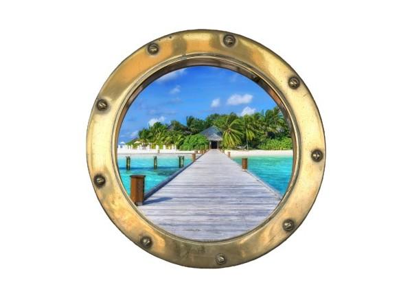 Stickers trompe l'oeil hublot doré Ponton sur la mer