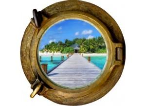 Stickers trompe l'oeil hublot bronze Ponton sur la mer