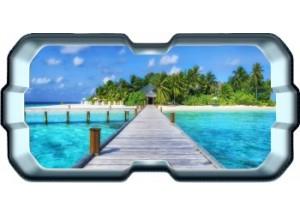 Stickers trompe l'oeil hublot 3D Ponton sur la mer