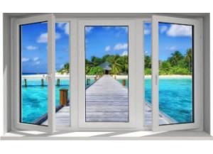Stickers trompe l'oeil fenêtre Ponton sur la mer