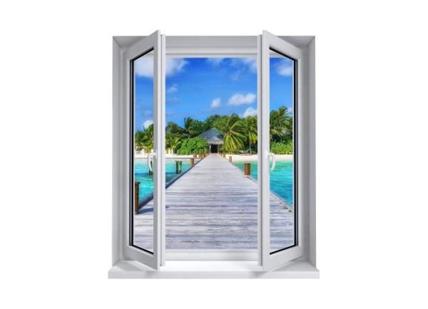Sticker trompe l'oeil fenêtre 2 vantaux Ponton sur la mer