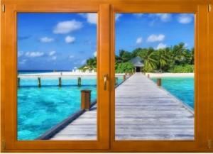 Sticker trompe l'oeil fenêtre bois Ponton sur la mer