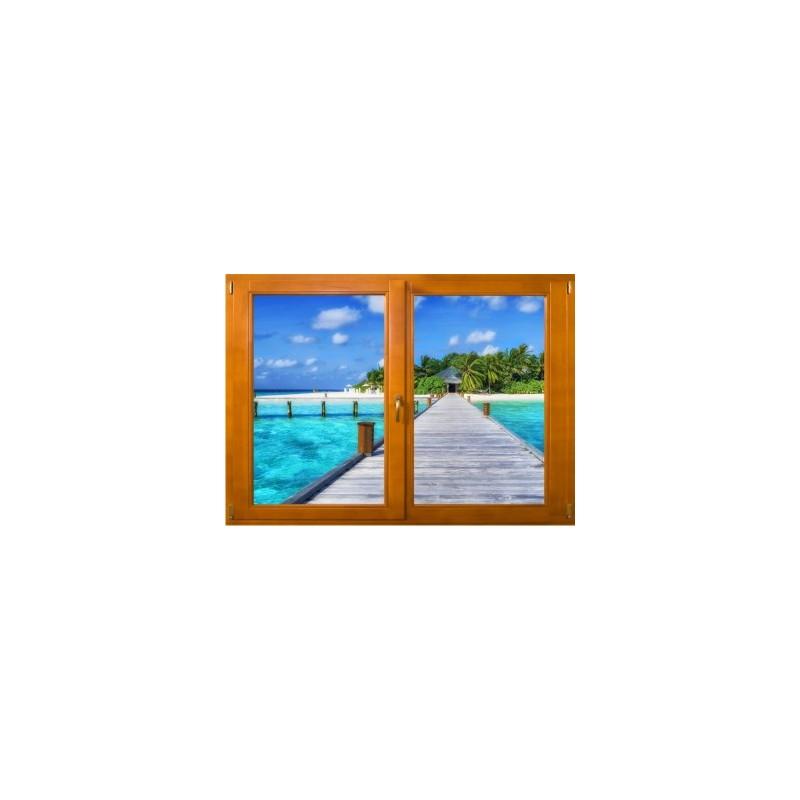 stickers trompe l 39 oeil fen tre bois ponton sur la mer. Black Bedroom Furniture Sets. Home Design Ideas