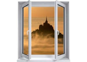 Sticker trompe l'oeil fenêtre 2 vantaux Mont Saint Michel matinal