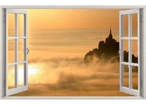 Stickers trompe l'oeil fenêtre ouverte Mont Saint Michel matinal