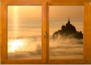Sticker trompe l'oeil fenêtre bois Mont Saint Michel matinal