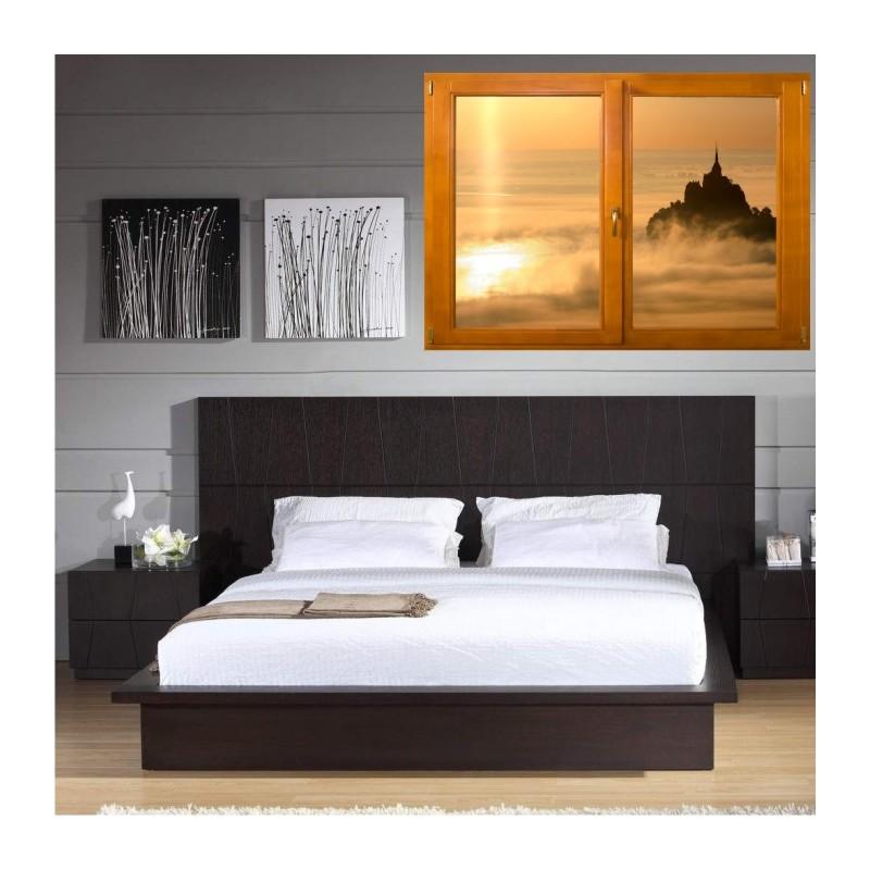 stickers trompe l 39 oeil fen tre bois mont saint michel matinal. Black Bedroom Furniture Sets. Home Design Ideas